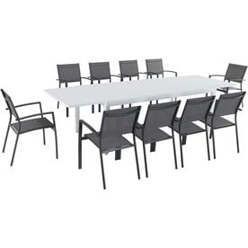 Hanover Del Mar 11-Piece Outdoor Dining Set w/ 10 Sling Chairs in Gray and 40u0022 x 118u0022 Expandable Dining Table