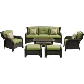 Hanover Strathmere 6 Piece Lounge Set In Cilantro Green