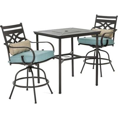 Montclair 3 Piece Brown Metal Frame Bar Height Patio Set With Ocean Blue Cushions