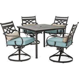 fea91786fcc Hanover Montclair 5-Piece Brown Metal Frame Patio Set with Ocean Blue  Cushions