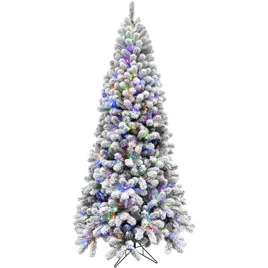 Fraser Hill Farm 6 5 Ft Alaskan Pine Pre Lit Traditional Flocked Artificial Christmas Tree With 550 Multi Function Multicolor Led Lights In The Artificial Christmas Trees Department At Lowes Com