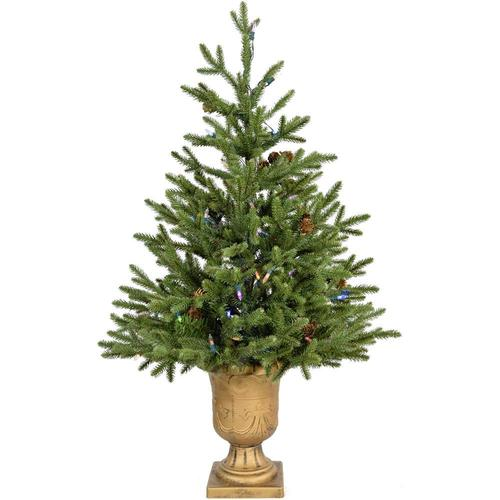 Fraser Hill Farm 3-ft Pre-Lit Noble Fir Artificial Christmas Tree with 100 Multi-Function ...
