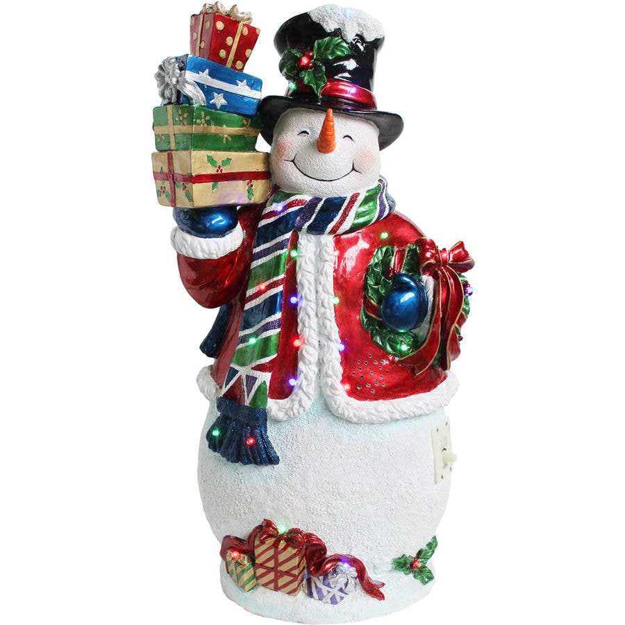 Fraser Hill Farm Indoor Covered Outdoor Christmas Decorations 2 Ft Musical Resin Snowman with LED Lights