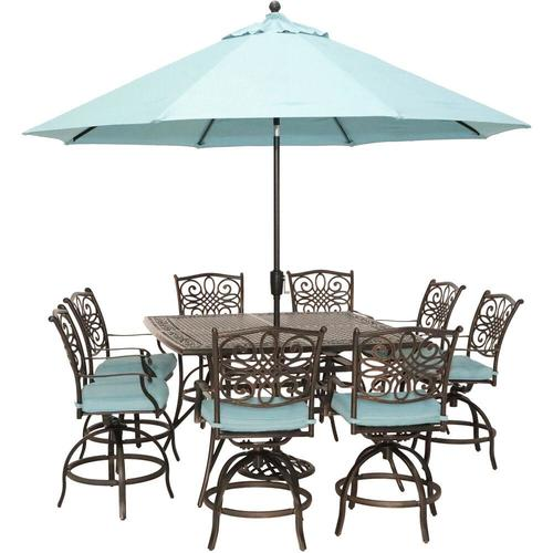 Hanover Traditions 9-Piece Blue Frame Patio Set with Blue ...