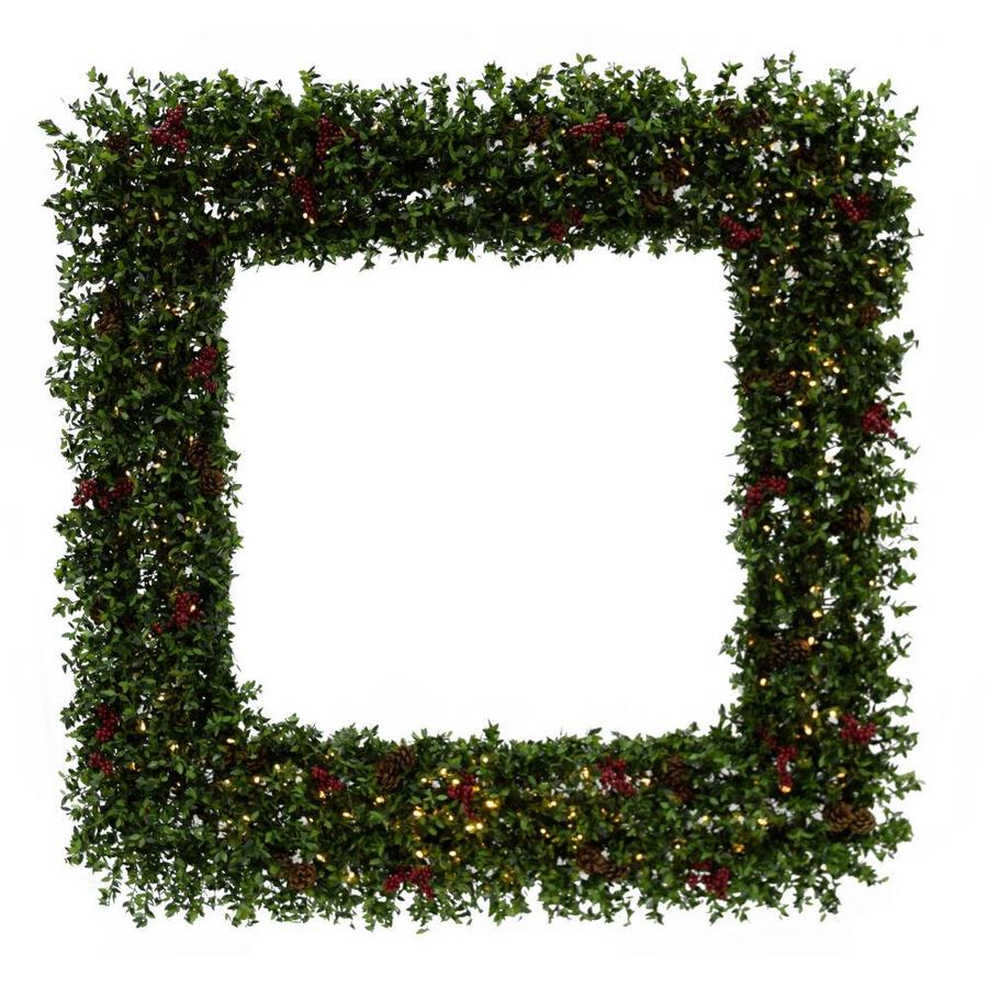 Fraser Hill Farm 48 In Pre Lit Outdoor Battery Operated Green Pine Artificial Christmas Wreath With White Warm Led Lights In The Artificial Christmas Wreaths Department At Lowes Com