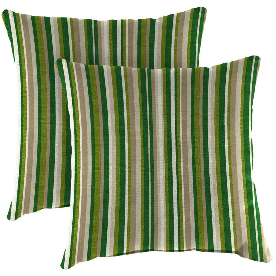 Jordan Manufacturing 2 Pack Sunbrella Striped Catalina Cilantro Square Throw Pillow In The Outdoor Decorative Pillows Department At Lowes Com