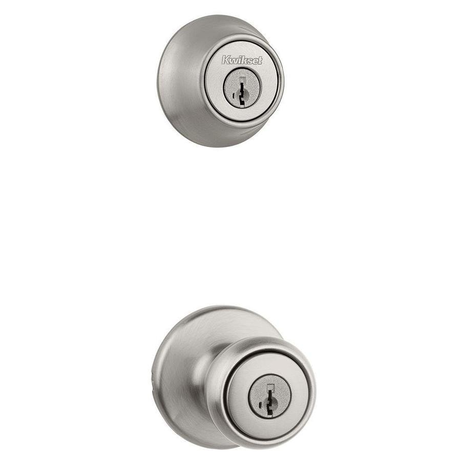 Keyed Entry Door Knob Smartkey Single-Cylinder Deadbolt Combo Pack Satin Nickel