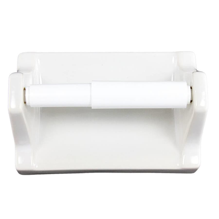 Lenape Products Proseries White Glazed Wall Mount Spring Loaded Toilet Paper Holder In The Toilet Paper Holders Department At Lowes Com
