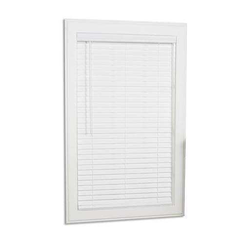 Allen Roth 2 In Slat Width 54 In X 64 In Cordless White Faux Wood Room Darkening Full View Standard Horizontal Blinds In The Blinds Department At Lowes Com