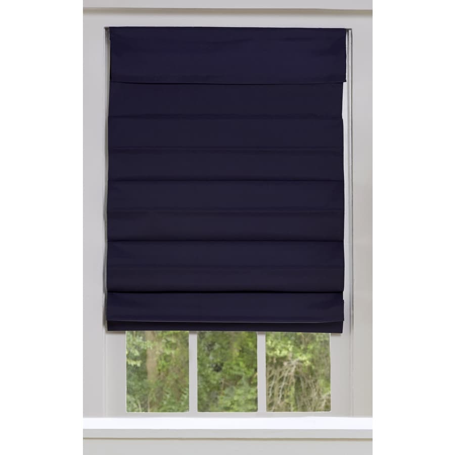 Allen Roth 70 In X 72 In Midnight Blue Blackout Cordless Roman Shade In The Window Shades Department At Lowes Com