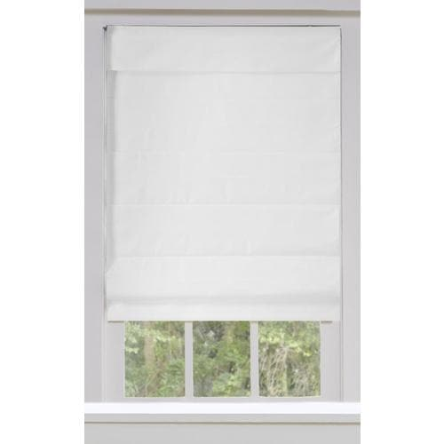 Allen Roth 66 In X 72 In Snow Blackout Cordless Roman Shade In The Window Shades Department At Lowes Com