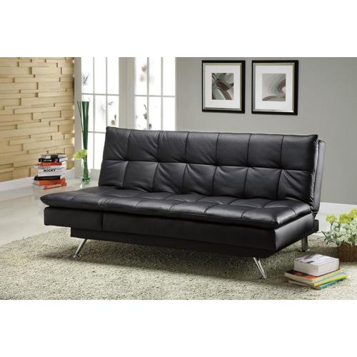 Furniture of America Hasty Black Faux Leather Futon at Lowes.com
