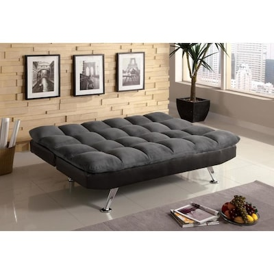 Remarkable Tigray Dark Gray Microfiber Futon Pabps2019 Chair Design Images Pabps2019Com