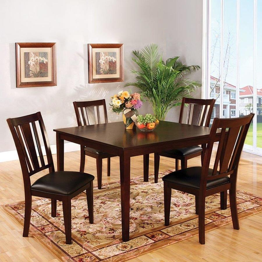 Furniture Of America Bridgette I Espresso Dining Set With Square Table