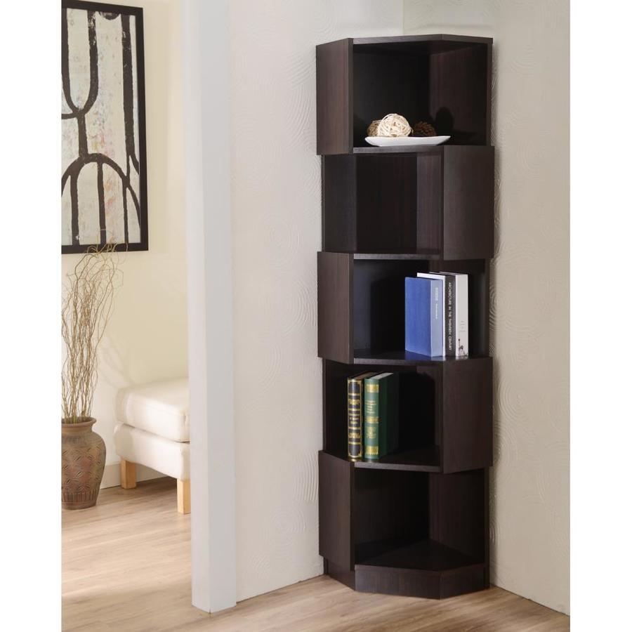 Furniture Of America Espresso 5 Shelf Corner Bookcase At