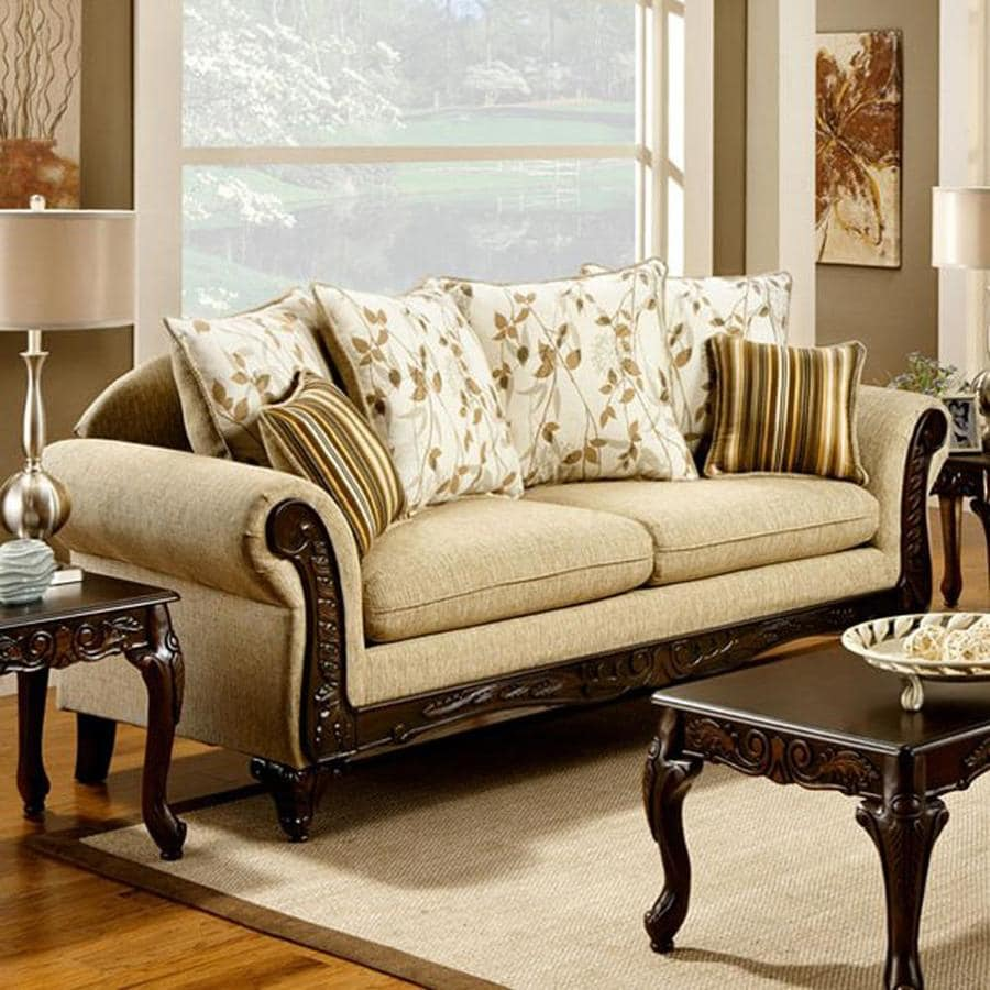 Furniture Of America Doncaster Vintage Tan Faux Leather Sofa In The Couches Sofas Loveseats Department At Lowes Com