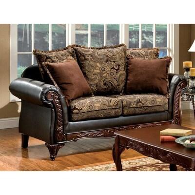 Amazing Furniture Of America Rotherham Vintage Brown Dark Brown Faux Cjindustries Chair Design For Home Cjindustriesco