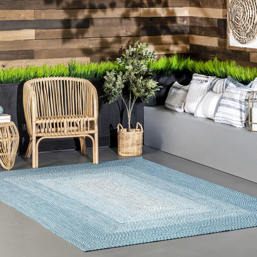 Nuloom Jayda 8 X 10 Blue Indoor Outdoor Ombre Area Rug In The Rugs Department At Lowes Com