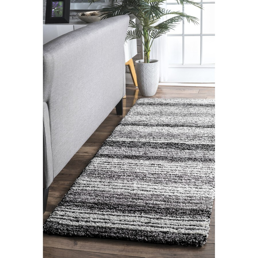 Nuloom 2 X 16 Gray Multi Indoor Stripe Handcrafted Area Rug In The Rugs Department At Lowes Com