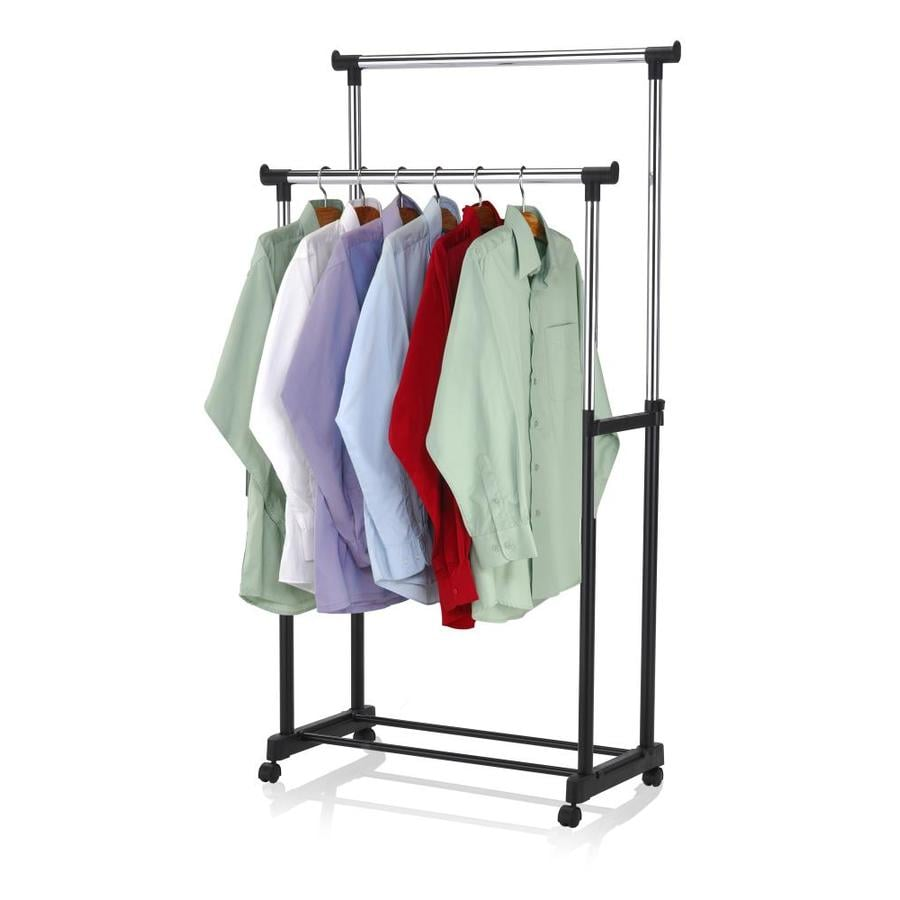 Home Basics Sunbeam Chrome Plated Steel Double Garment Rack Black In The Clothing Racks Portable Closets Department At Lowes Com