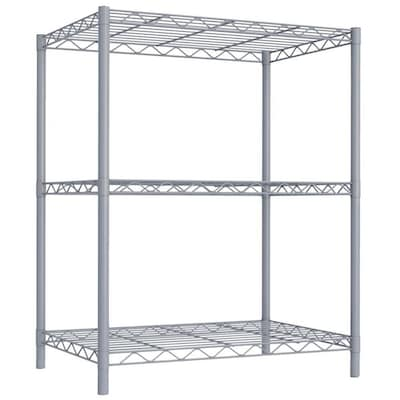 best service bfdde 8237f Home Basics 3 Tier Steel Wire Shelf, Grey at Lowes.com