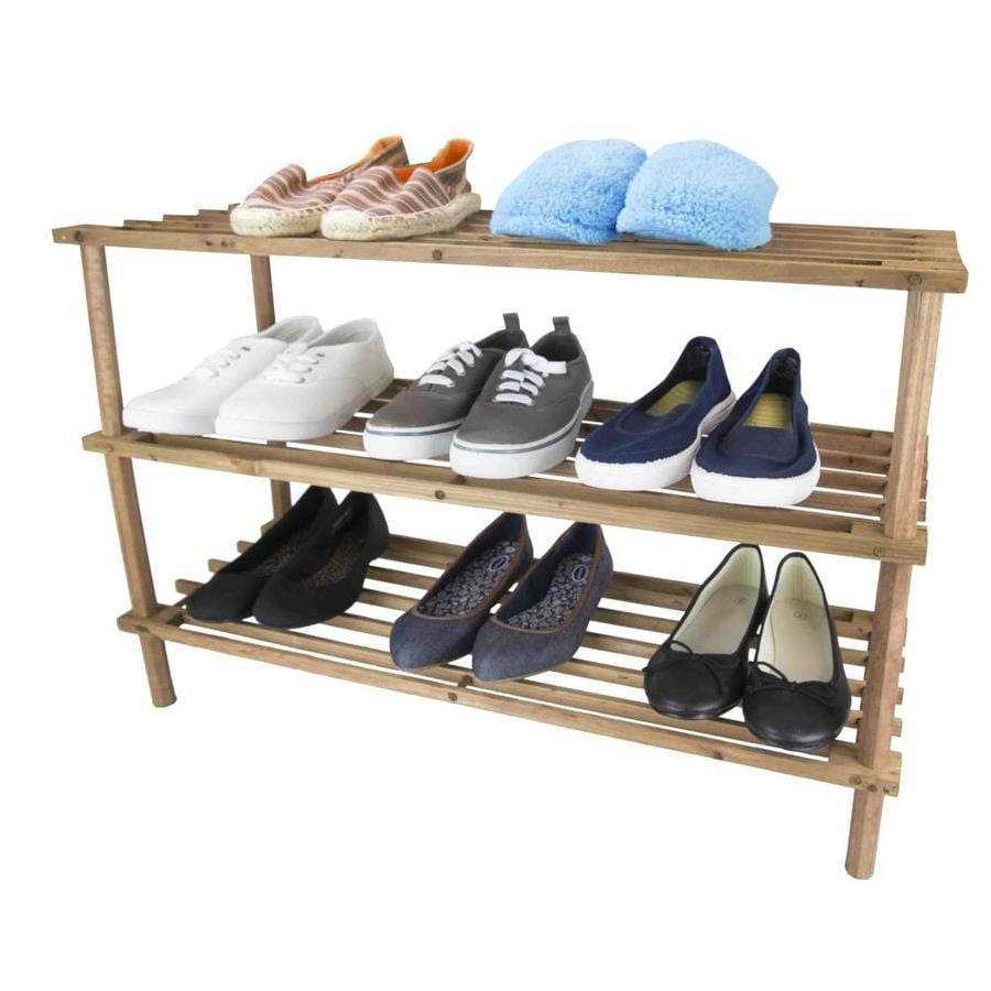 Home Basics 12 Pair Pine Cherry Wood Shoe Rack In The Shoe Storage Department At Lowes Com