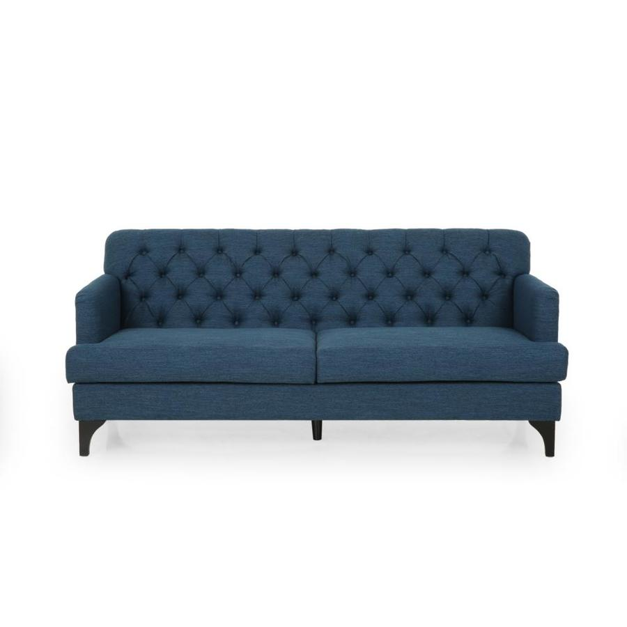 Best Selling Home Decor Post Wick Contemporary Tufted Fabric 3 Seater Sofa Navy Blue And Dark Brown In The Couches Sofas Loveseats Department At Lowes Com