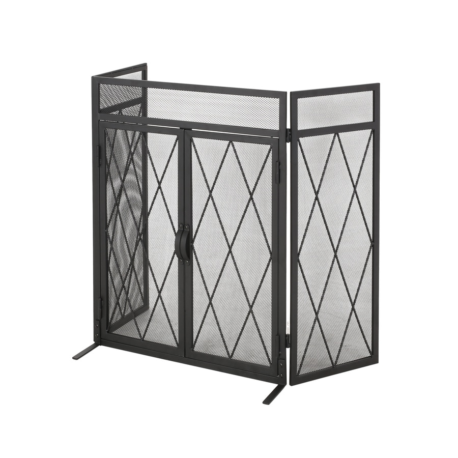 Best Selling Home Decor Blyfield Modern Iron Folding Fireplace Screen With Door Matte Black In The Fireplace Screens Department At Lowes Com