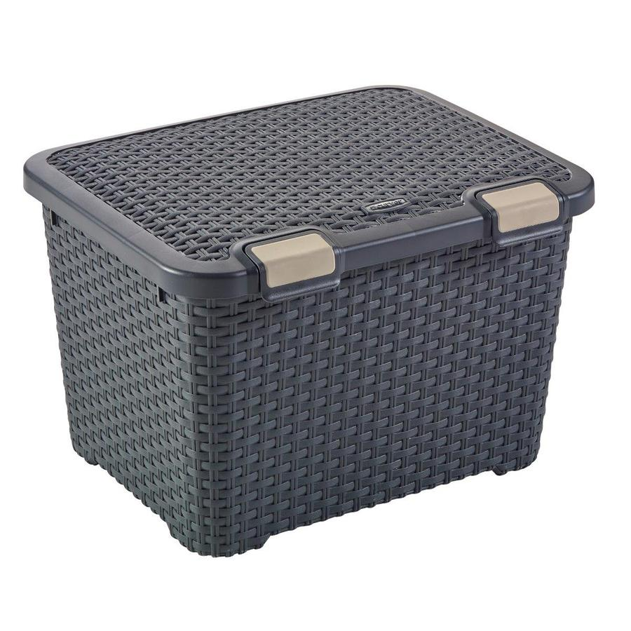 19.69-in W x 13-in H x 15.75-in D Grey Plastic Bin
