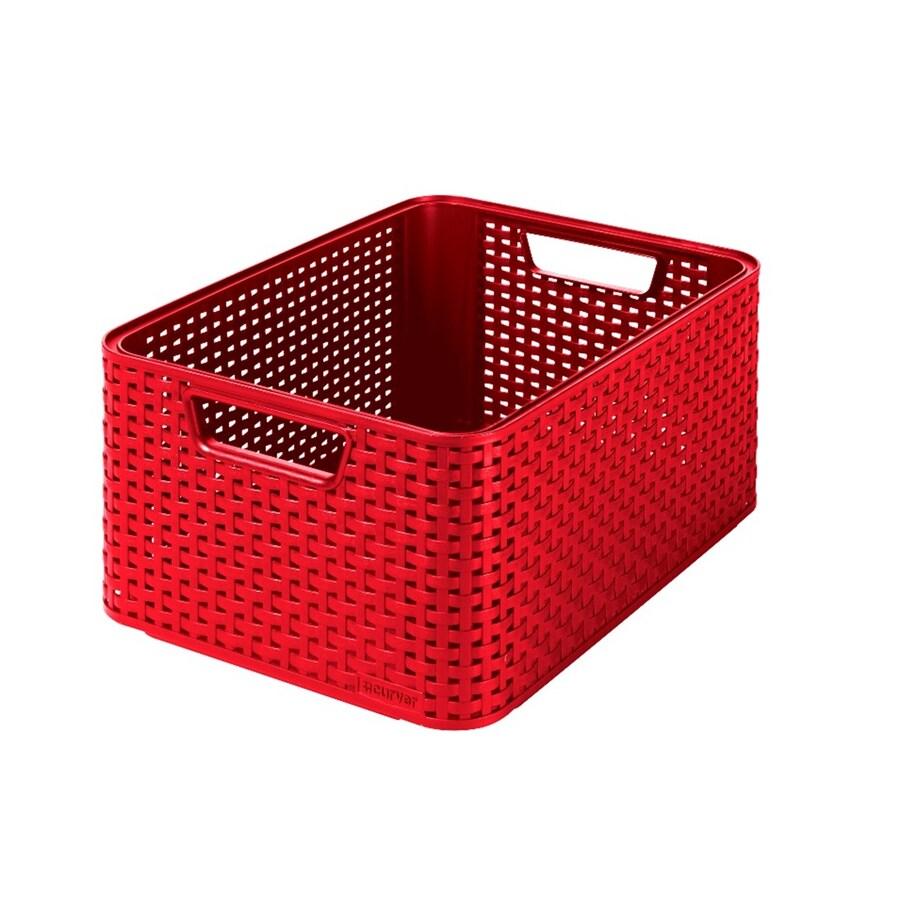 Style 15.2-in W x 6.69-in H x 11.3-in D White or Red Plastic Bin