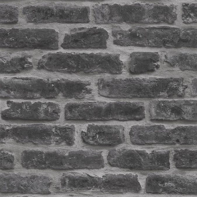 Graham Brown Strata 56 Sq Ft Black Vinyl Textured Brick Unpasted Wallpaper In The Wallpaper Department At Lowes Com