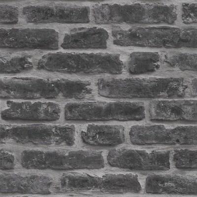 Strata 56 Sq Ft Black Vinyl Textured Brick Unpasted Paste The Wall Wallpaper