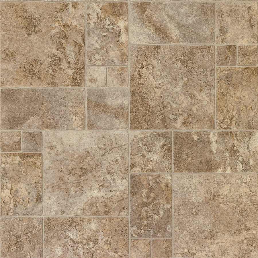 STAINMASTER SoftStep Plus 12-ft W Bayridge Sediment Tile Low-Gloss Finish Sheet Vinyl