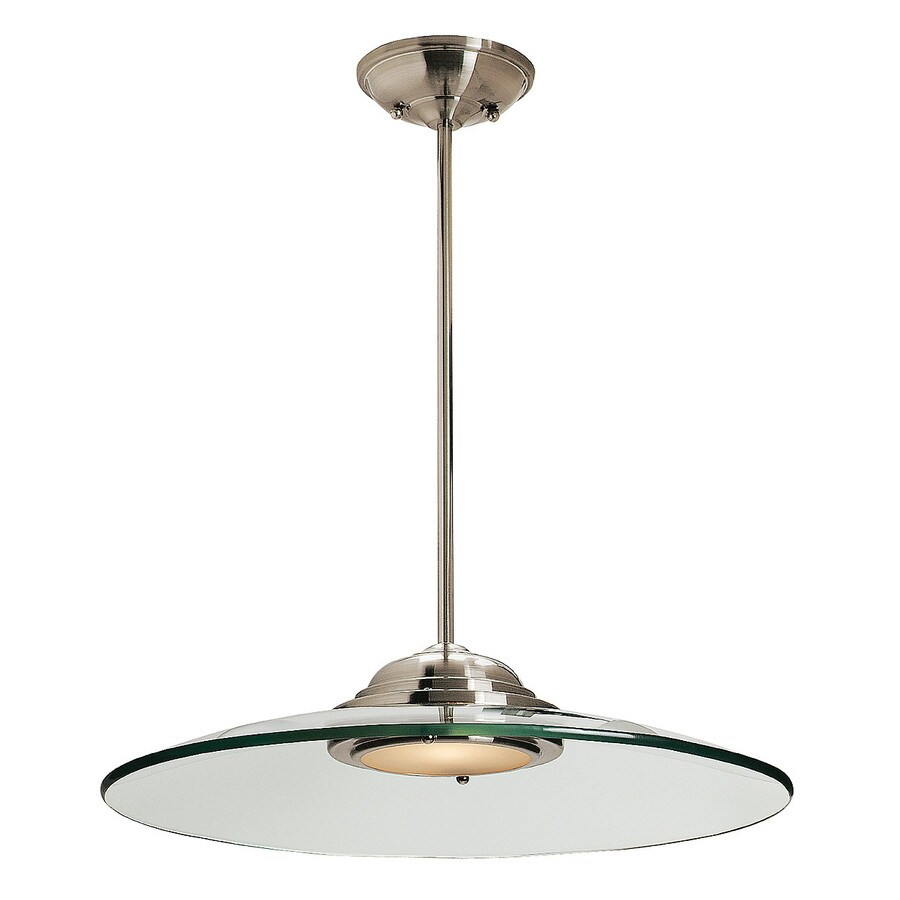 Access Lighting Phoebe 19-in Brushed Steel Single Clear Glass Pendant