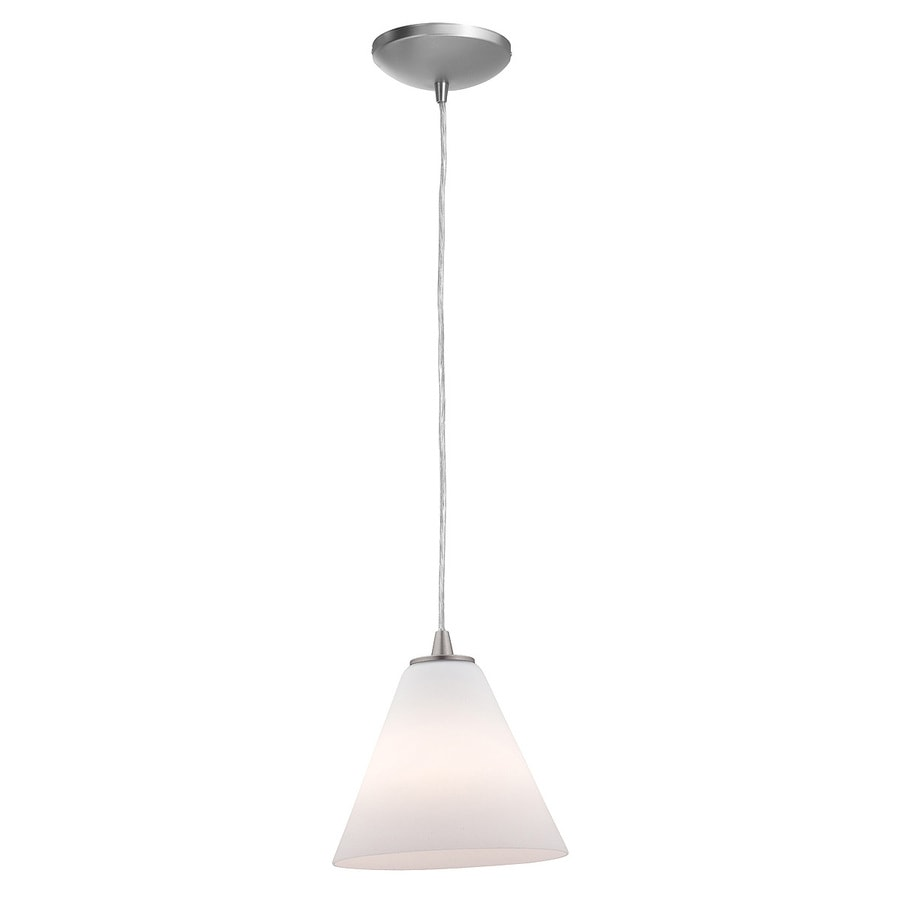 Access Lighting Inari Silk 7-in Brushed Steel Mini Cone Pendant