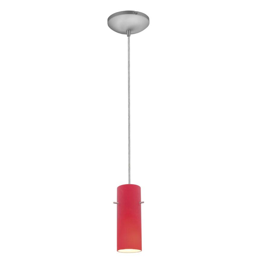 Access Lighting Inari Silk 4-in Brushed Steel Mini Cylinder Pendant