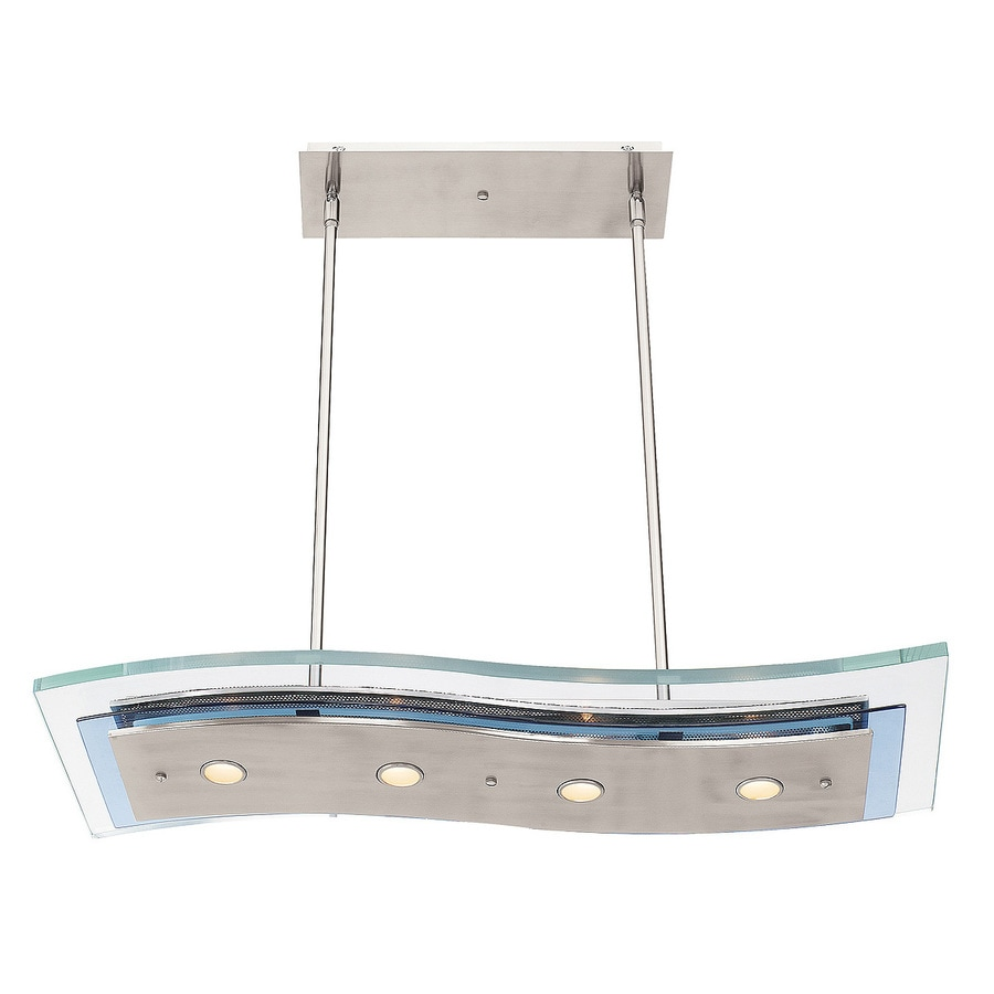 Access Lighting Aquarius 10-in W 4-Light Brushed Steel Standard Kitchen Island Light with Clear Shade
