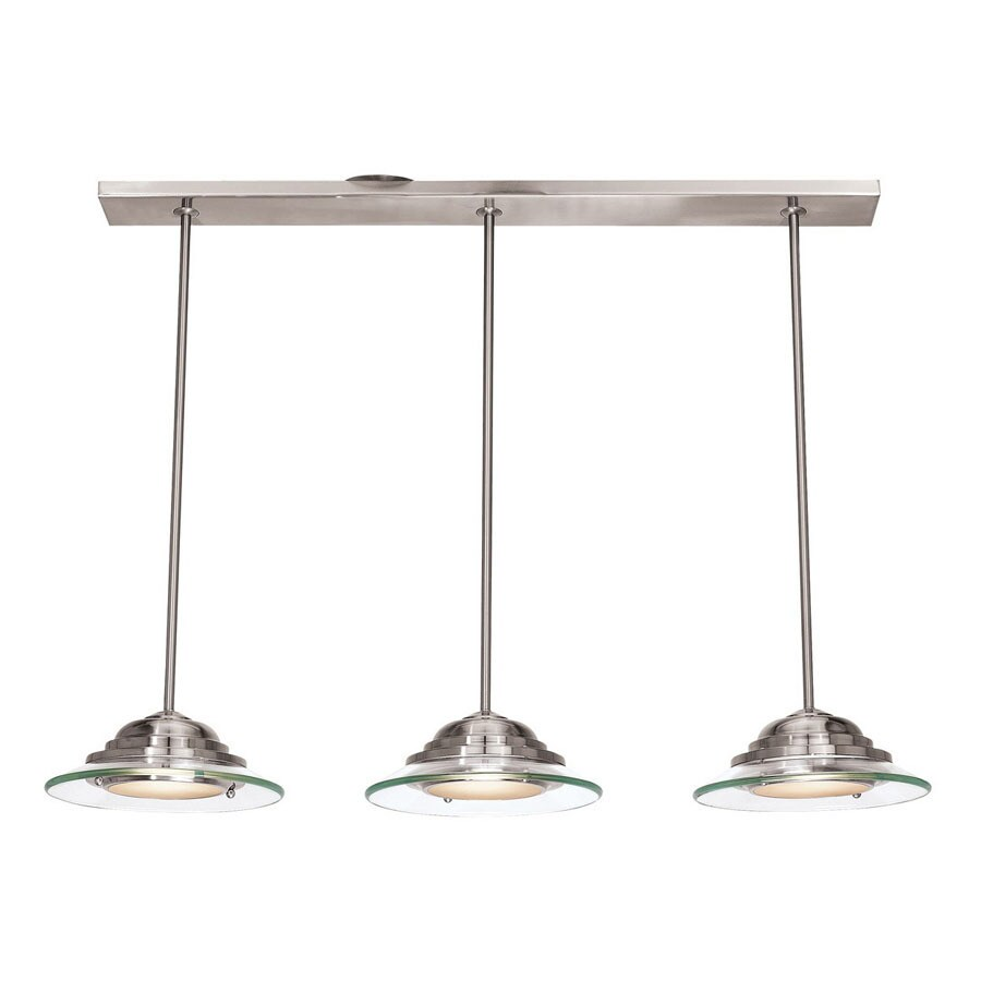 Access Lighting Phoebe 3.5 In W 3 Light Brushed Steel Kitchen Island Light  With