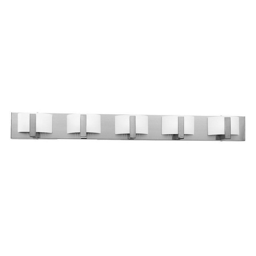 Access Lighting Oracle 5-Light 4.5-in Brushed Steel Drum Vanity Light Bar