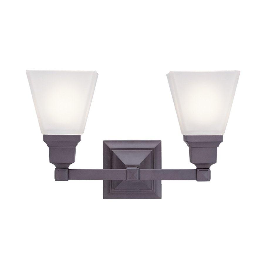 Livex Lighting Mission 2-Light 9.5-in Bronze Bell Vanity Light