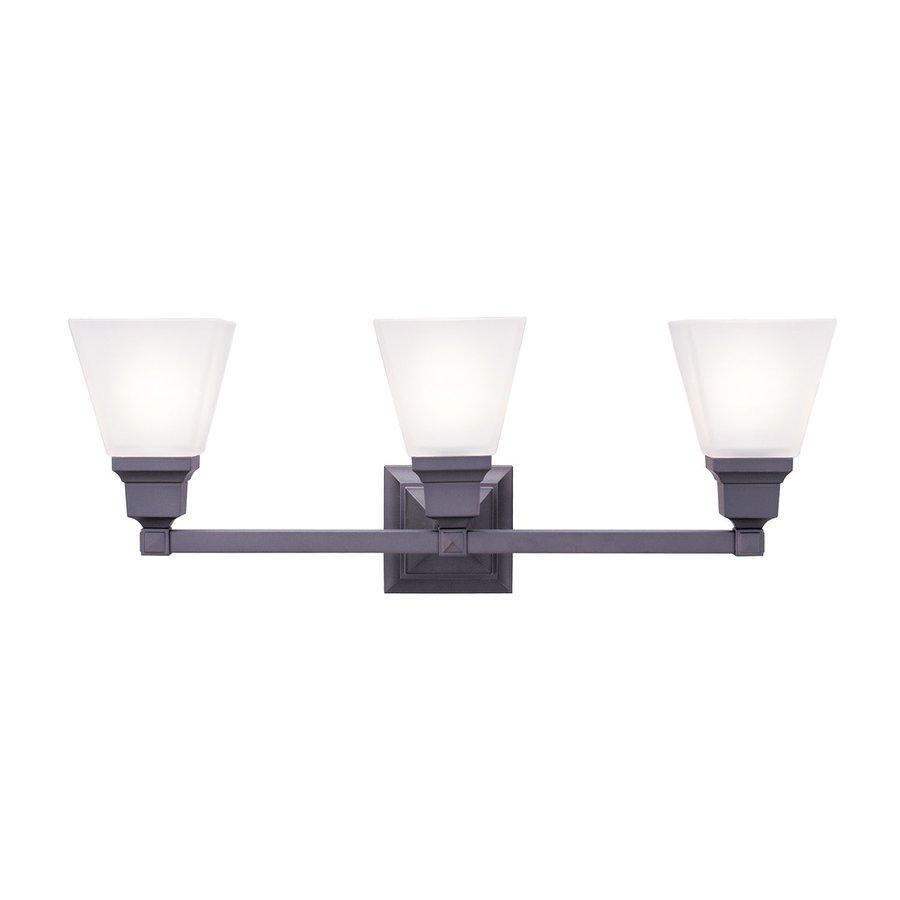 Livex Lighting Mission 3-Light 9.5-in Bronze Bell Vanity Light