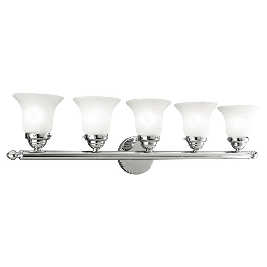 5 Light Bathroom Vanity Light: Shop Livex Lighting 5-Light Home Basics Chrome Bathroom