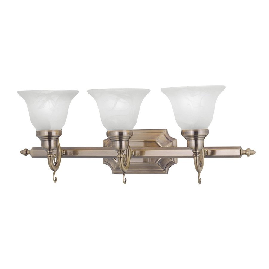 Livex Lighting French Regency 3-Light 9.25-in Antique brass Bell Vanity Light