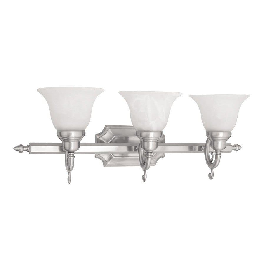 Livex Lighting French Regency 3-Light 9.25-in Brushed nickel Bell Vanity Light