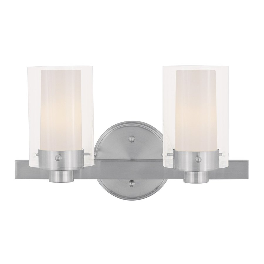 Livex Lighting Manhattan 2-Light 8.75-in Brushed Nickel Cylinder Vanity Light