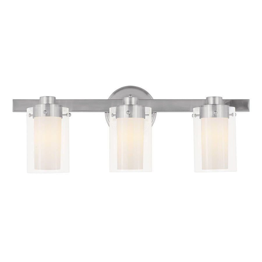 Livex Lighting Manhattan 3-Light 8.75-in Brushed Nickel Cylinder Vanity Light