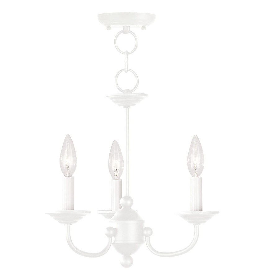Livex Lighting Home Basics 14-in 3-Light White Candle Chandelier