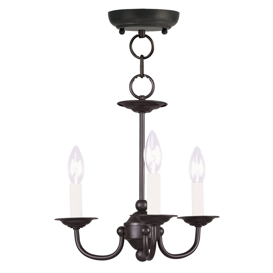 Livex Lighting Home Basics 14-in 3-Light Black Candle Chandelier