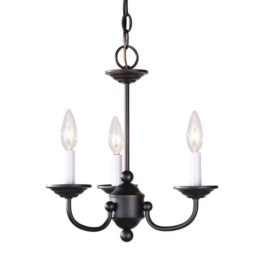 Livex Lighting Home Basics 14-in 3-Light Bronze Candle Chandelier