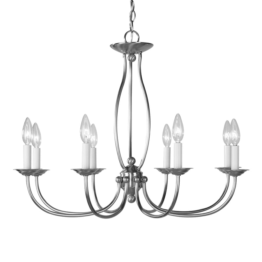 Livex Lighting Home Basics Ii 28-in 8-Light Brushed Nickel Candle Chandelier